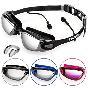 3438cc77203 Proworks Swimming Goggles with Mirrored Lenses