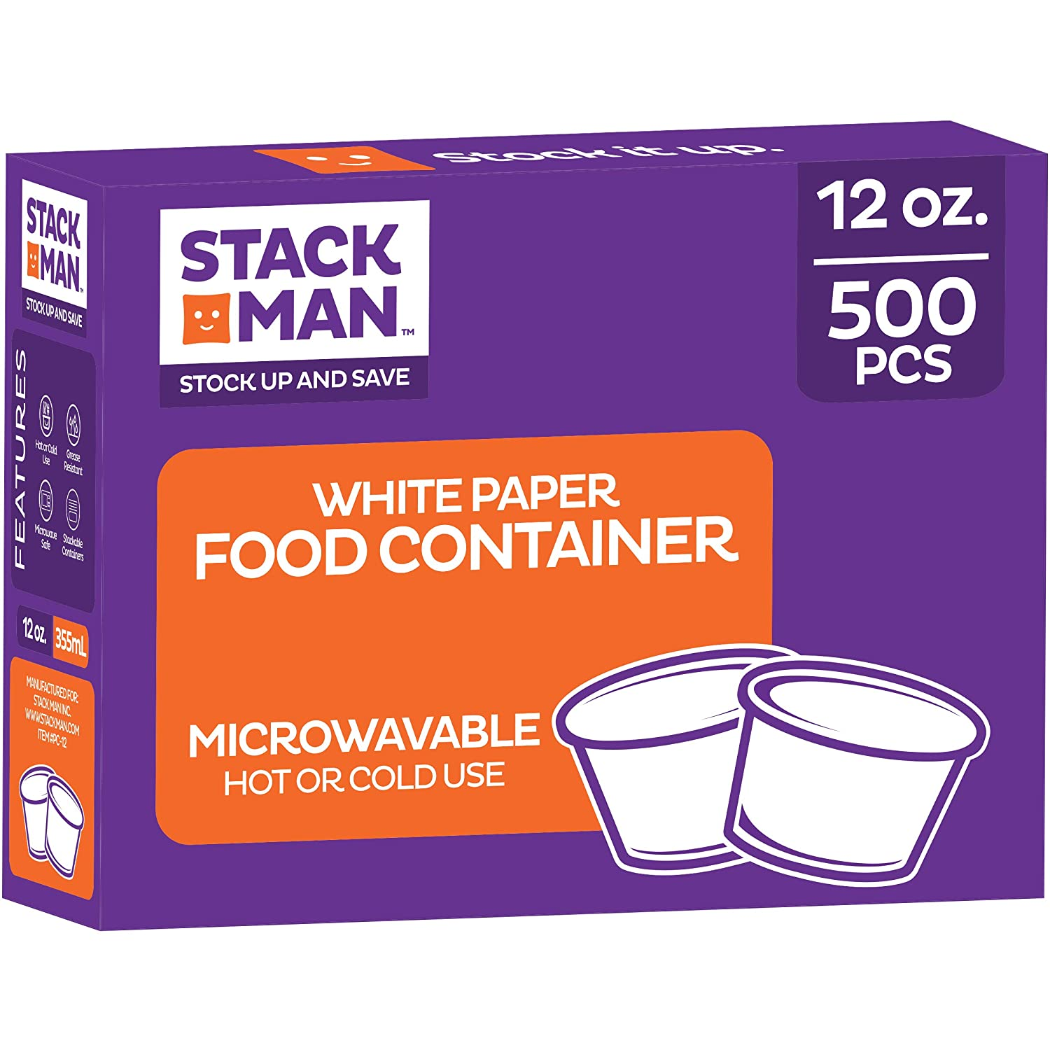 [12oz. - 500 Count] Insulated Paper Food Containers, Paper Food Cup, Hot or Cold to Go Containers, Soup Container, Ice Cream Cup, Yogurt Cup, Eco-Friendly White Container (Packed 20x25 Per case =500)