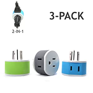 Australia, New Zealand, China Power Plug Adapter by OREI with 2 USA Inputs - Travel 3 Pack - Type I (US-16) Safe Grounded Use with Cell Phones, Laptop, Camera Chargers, CPAP, and More
