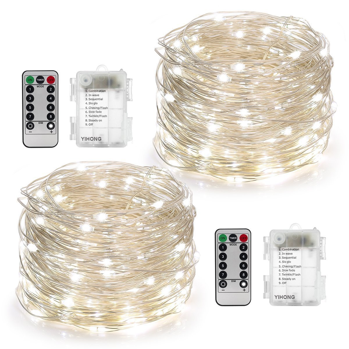 YIHONG 2 Set Fairy Lights Battery Operated 50LED String Lights Remote Control Timer Twinkle String Lights 8 Modes 16.4 Feet Silver Wire Firefly Lights --White