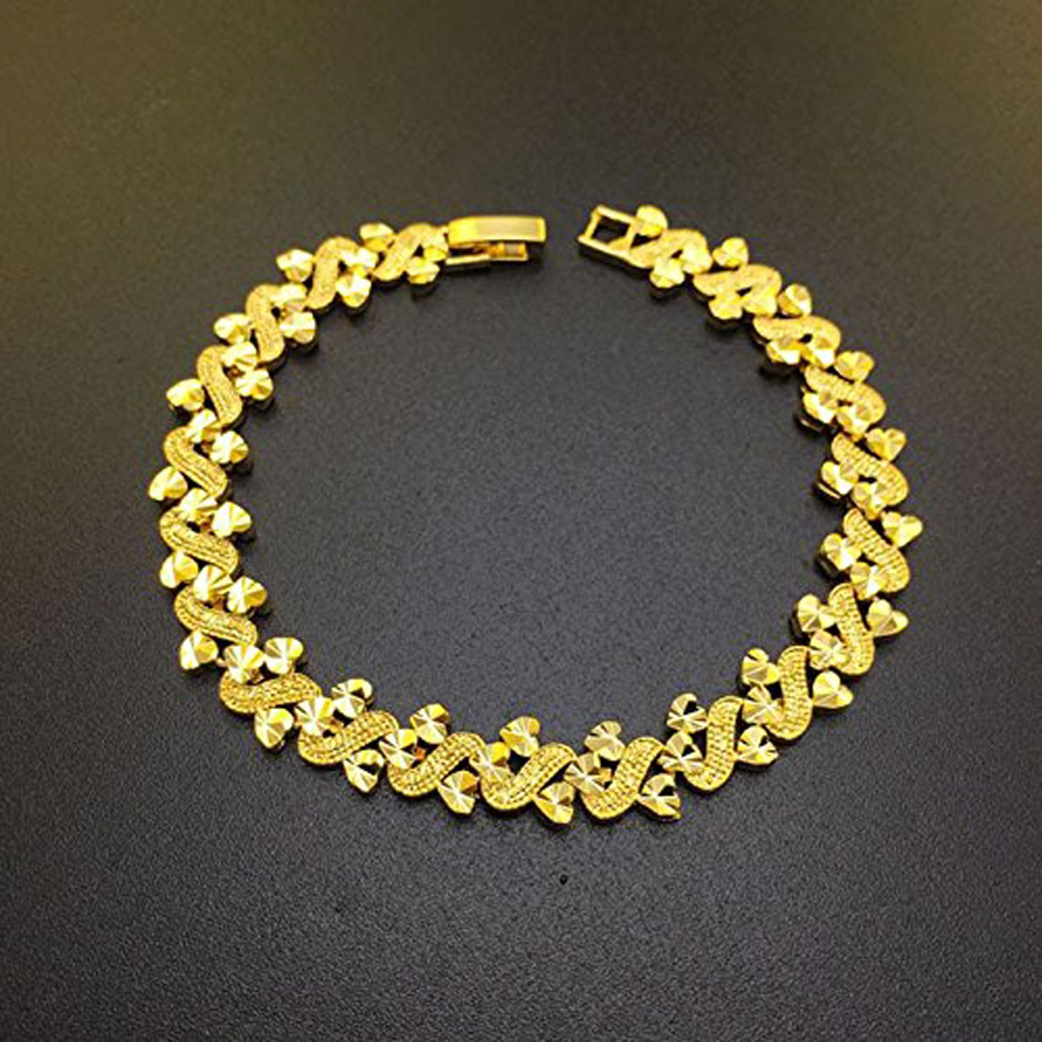 CS-DB 24K Gold Real 24k Yellow Solid Gold Filled Heart Leaf Link Bracelet Chain Bangle Women's