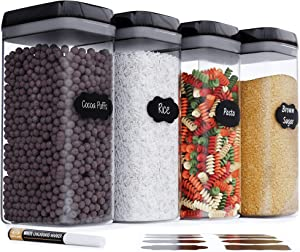Airtight Extra Large Food Storage Container - Set of 4, All Same Size - Kitchen & Pantry Organization - Ideal for Cereal, Spaghetti, Noodles, Pasta & Flour - Plastic Canisters with Lids