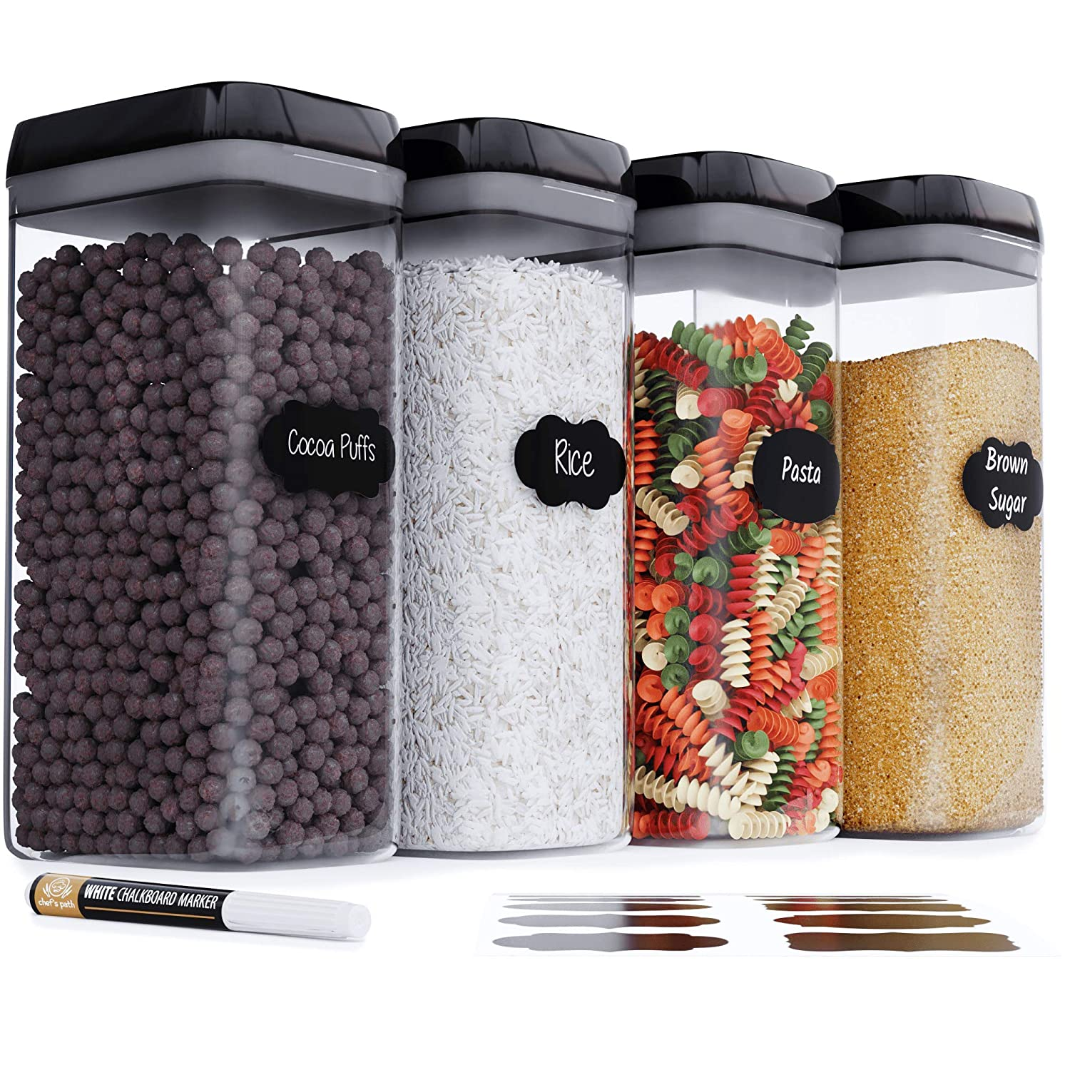 Chef's Path Airtight Extra Large Food Storage Container - 4 PC Set/All Same Size - Kitchen & Pantry Dry Food Containers - Ideal for Spaghetti, Noodles and Pasta - Clear Plastic Canisters with Lids