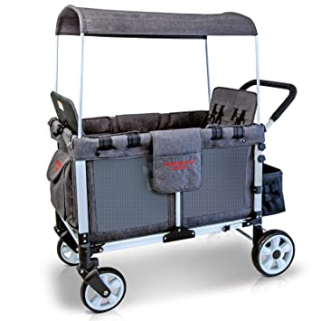 WonderFold Baby Multi-Function Four Passenger Wagon Folding Quad Stroller with Removable...