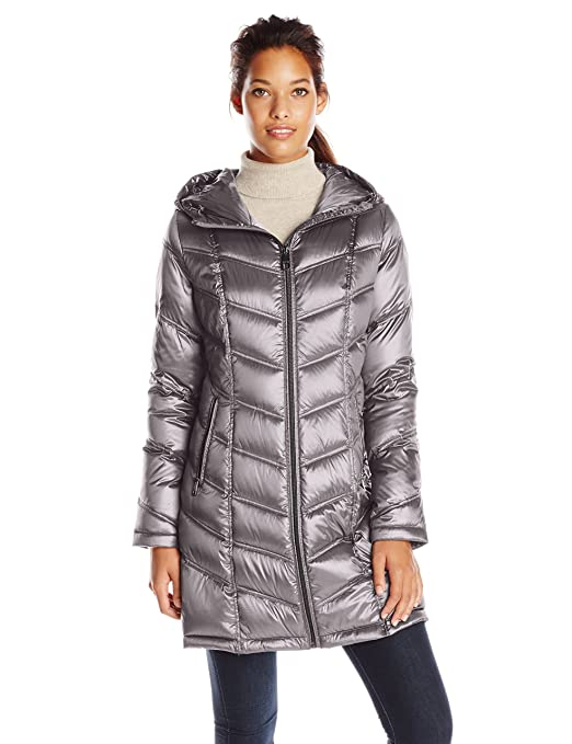 Calvin Klein Women's Mid-Length Packable Chevron Down Coat, Shine Granite, Large