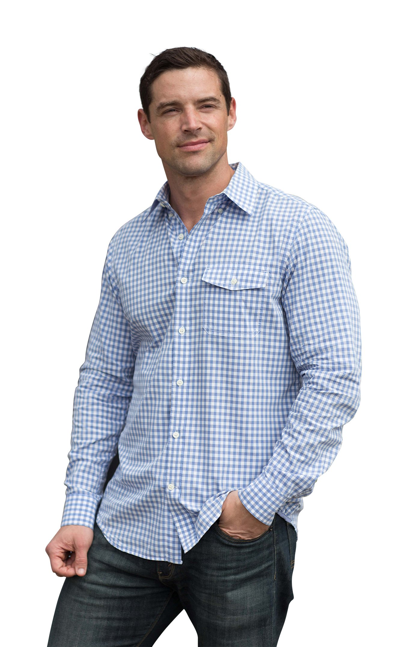 The Best Shirt Ever - Stainproof, Waterproof, Sweat-wicking Men's Button Down (Medium, Gingham Blue) by Clickbait Clothing (Image #1)