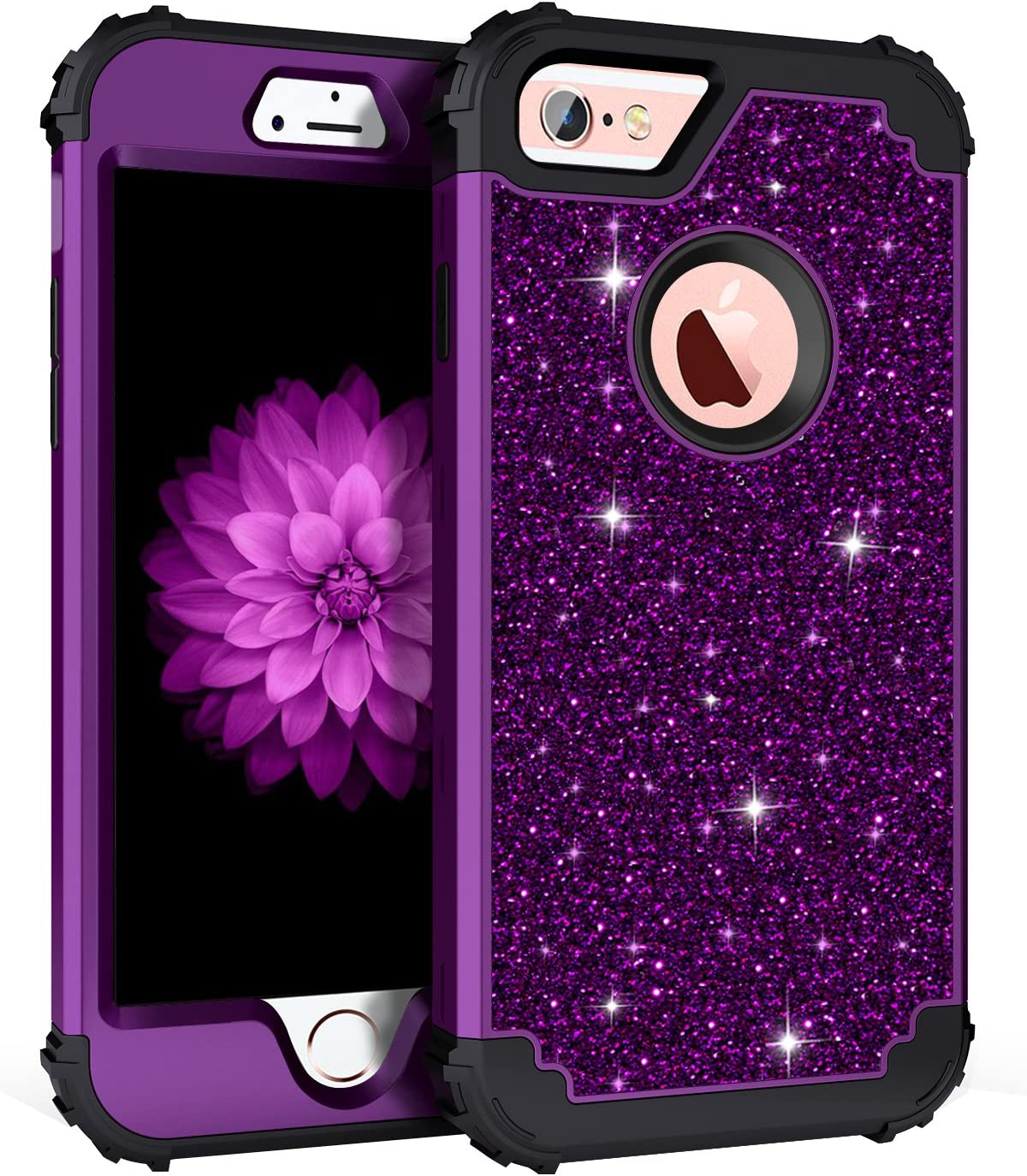 Pandawell Compatible iPhone 6s Plus Case iPhone 6 Plus Case, Glitter Sparkle Bling Heavy Duty Hybrid High Impact Shockproof Cover Case for iPhone 6s Plus/6 Plus, Shiny Purple/Black
