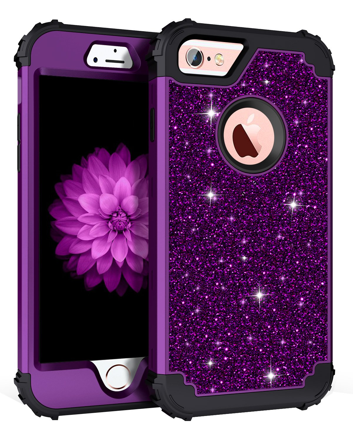 Pandawell Compatible iPhone 6s Case, iPhone 6 Case, Glitter Sparkle Bling Heavy Duty Hybrid Sturdy Armor Defender High Impact Shockproof Protective Cover Case for Apple iPhone 6s/6, Shiny Purple/Black
