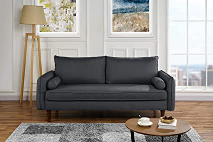 Amazon.com: Modern Living Room Fabric Sofa, Couch with Bolster ...