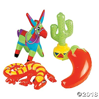OTC Inflatable Fiesta Decorations (Assorted Styles : Cactus, Chili Pepper, Donkey, Lizard, Mexican) (4-Pack): Toys & Games