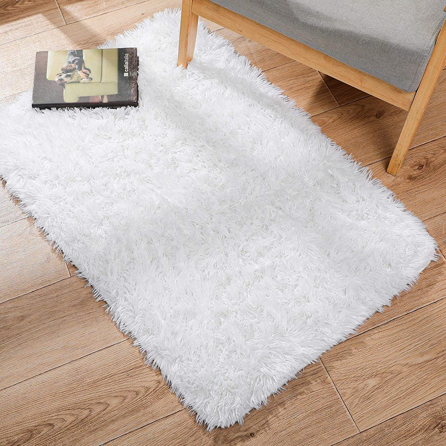 Ophanie Ultra Soft Fluffy Area Rugs for Bedroom, Luxury Shag Rug Faux Fur Non-Slip Floor Carpet for Kids Room, Baby Room, Girls Room, Play Room, and Nursery - Modern Home Decor, 2x3 Feet White