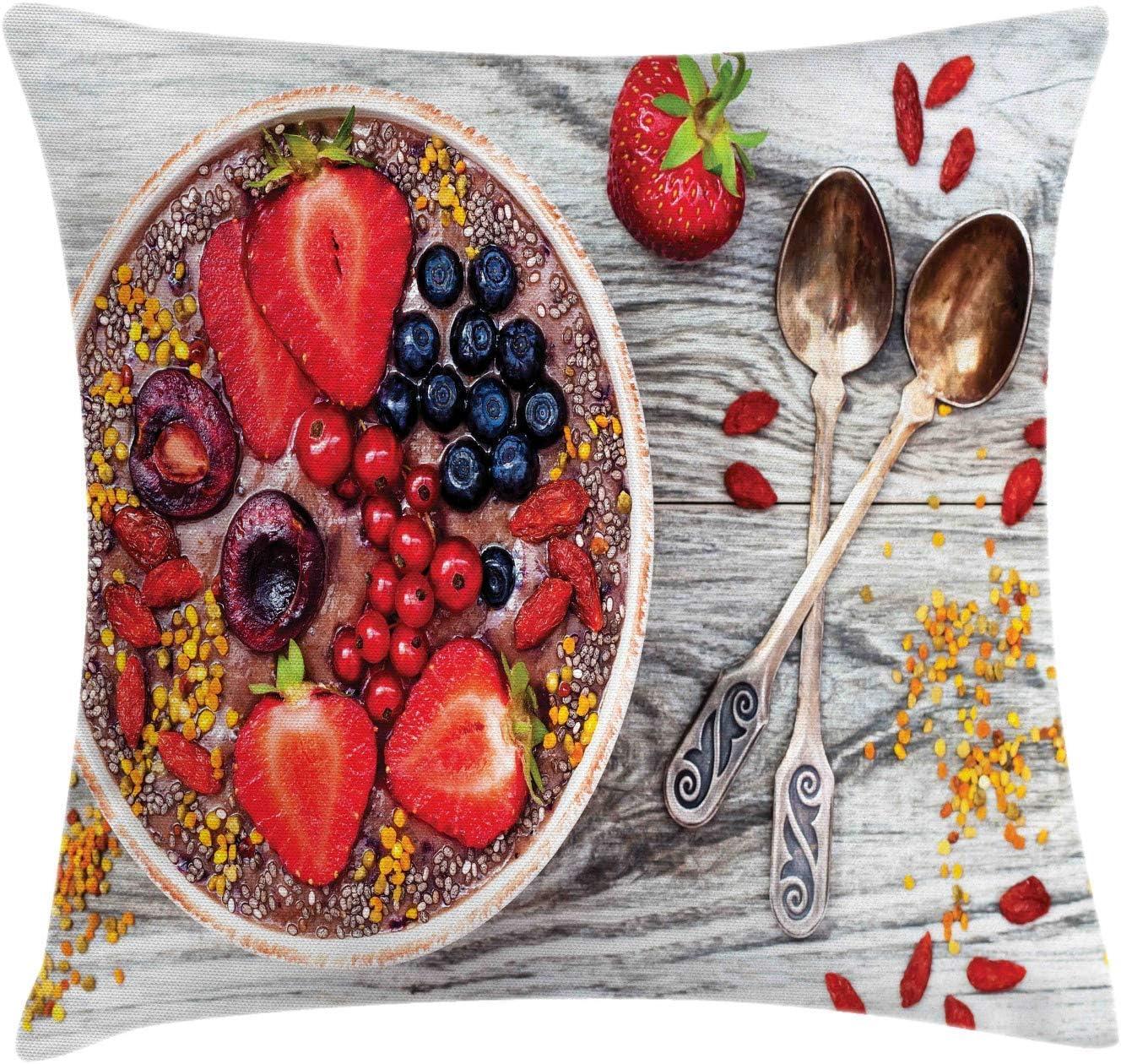 HFYZT Funda de cojín con diseño de Mantequilla de maní, Cuenco para Comida de Desayuno con Semillas de chía y Manteca de maní, Funda de Almohada Decorativa Cuadrada, 45,7 x 45,7 cm: