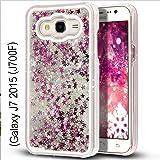 KC Liquid 3D Bling Glitter Star Case Transparent Hard Back Cover for Samsung Galaxy J7 2015 (J700F) - Silver Colour
