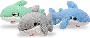 Fluffuns Stuffed Shark Plush Animal - 3-Pack of Baby Shark Stuffed Animal Plush Toys in 3 Colors - 12 Inch Length (Blue, Green & Gray)