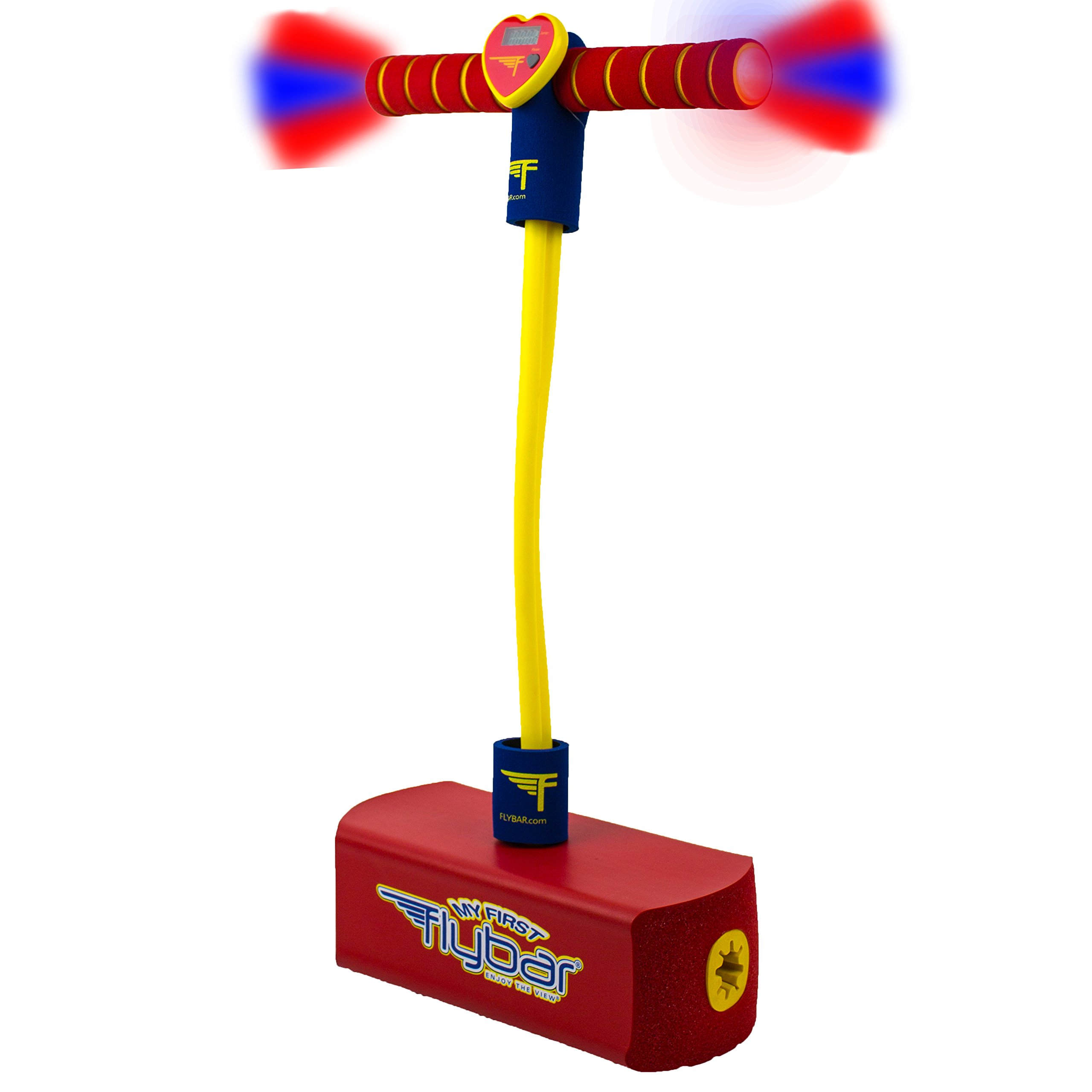 Flybar My First Foam Pogo Jumper With Flashing LED Lights & Pogo Counter Safe Pogo Hopper For Kids Ages 3 & Up (Red LED)