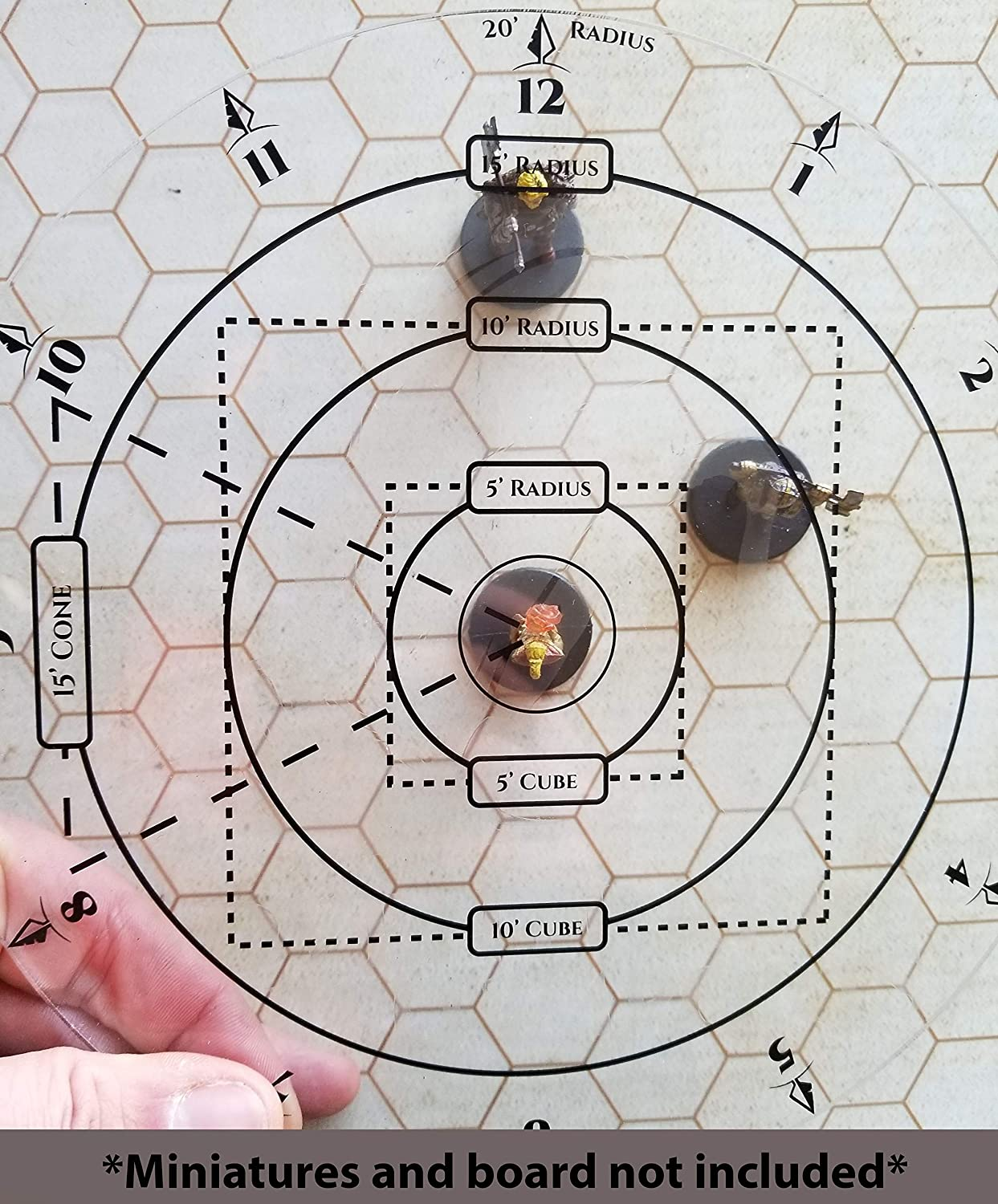 TABLE TOP RPG AOE SPELL DAMAGE TEMPLATE - For 1