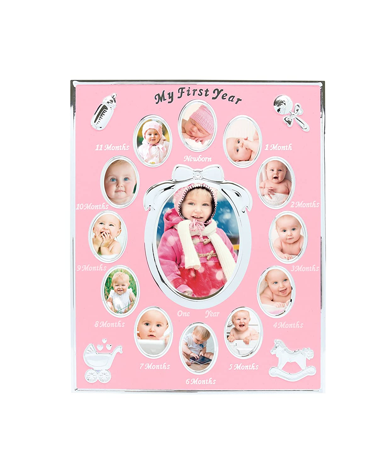 Tiny Ideas Baby s First Year Keepsake Picture Photo Frame, Silver Pink