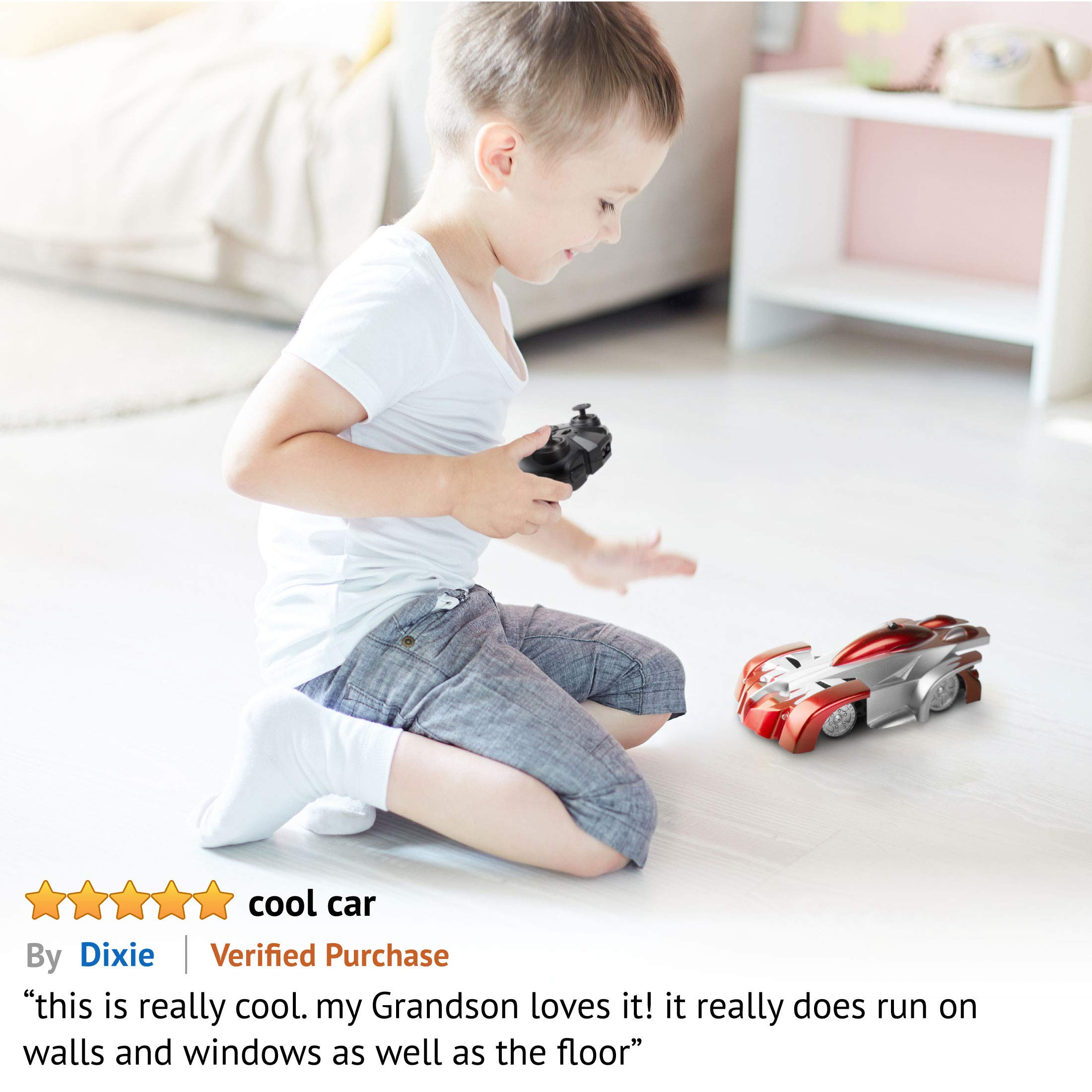 Force1 Remote Control Car Gravity Defying RC Car - RC Cars for Kids and Adults, Race Car Boys Toys for Floor or Wall w/ USB for Rechargeable Fast RC Car (Red) by Force1 (Image #6)