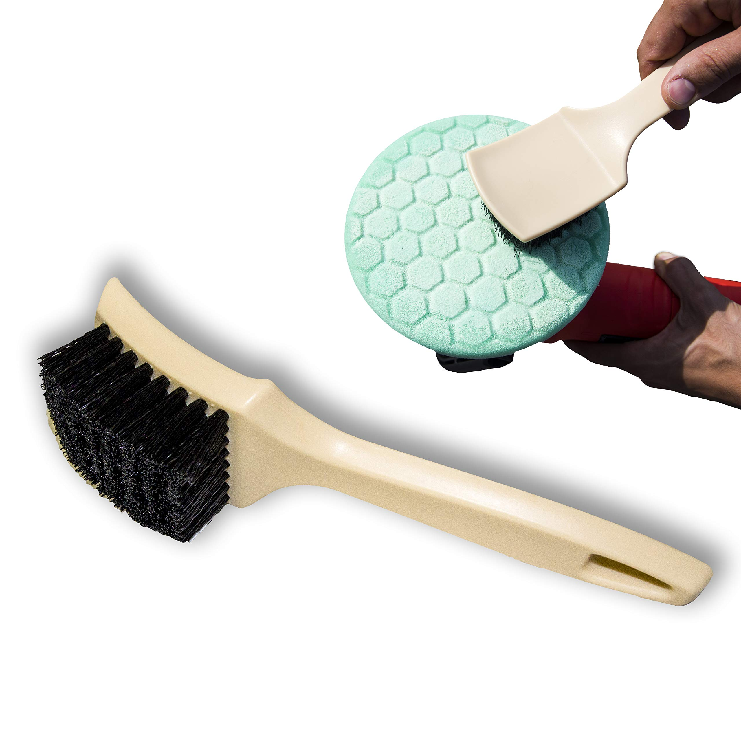 Gold Label Detailing Foam Pad Cleaning Brush   DA Orbital Polishing Disc Cleaner   Works on Foam and Wool Pads