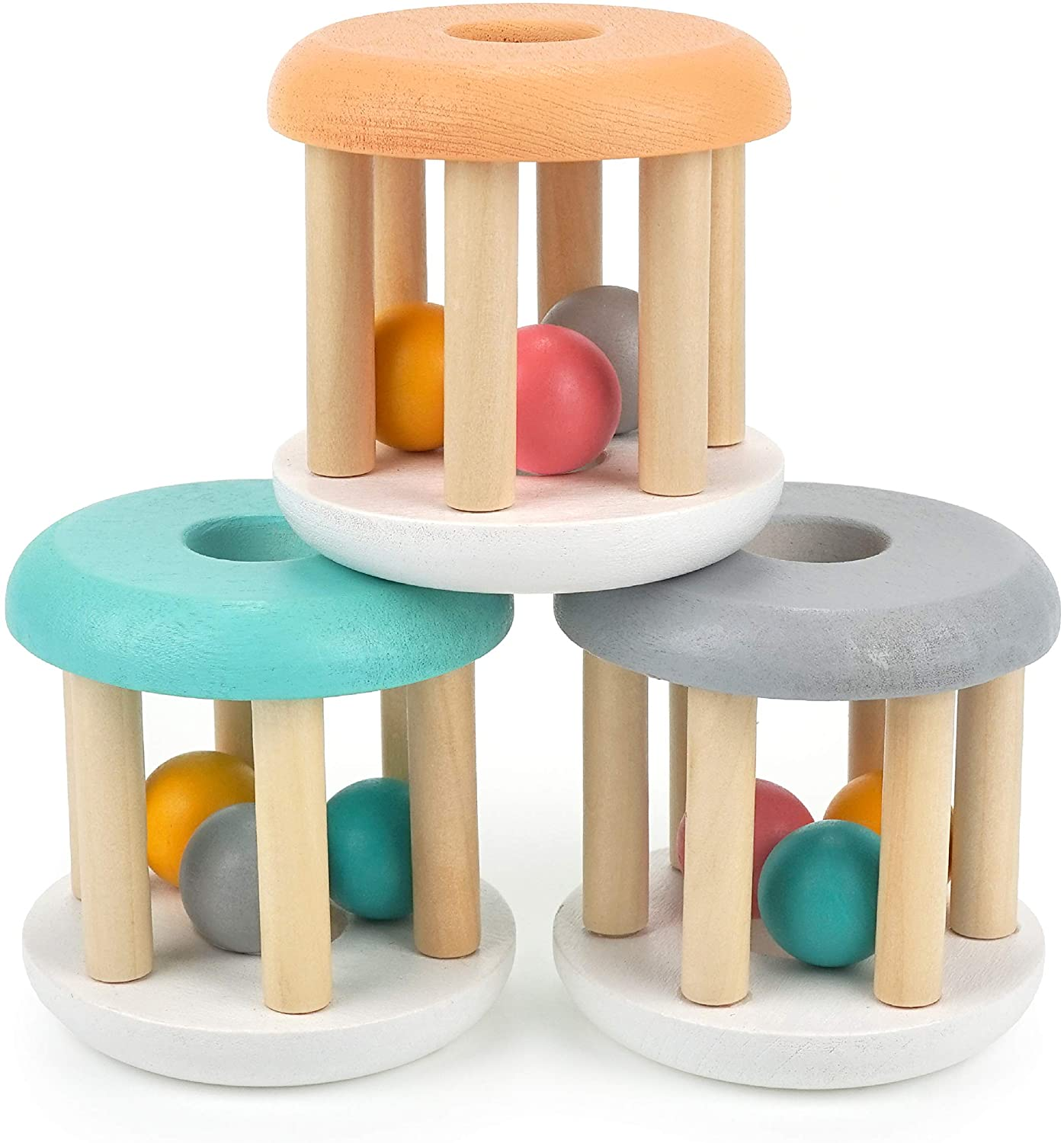 DUCKBOXX XX Wooden Rattle Rollers for Babies Ages 0m – 2yrs (3pcs)