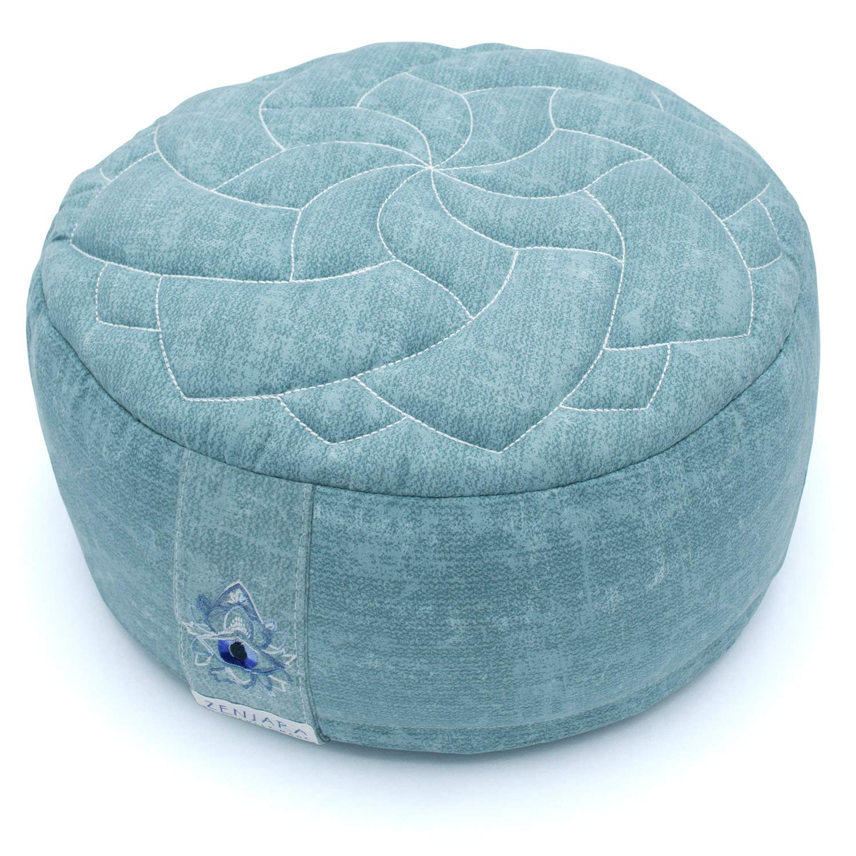 Zenjara Zafu Yoga Meditation Cushion - 13'' x 5'' Sea-Foam Green | Overstuffed USA Buckwheat Hull Filling | Washable, Removable Double-Layer Cotton Pillow Cover w/Quilted Mandala | Stylish Carrying Bag