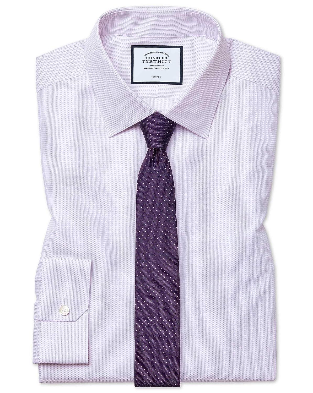 Chemise à Motif à Effet Tirets violets Super Slim Fit Sans Repassage   violets (Poignet Mousquetaire)   14.5   33