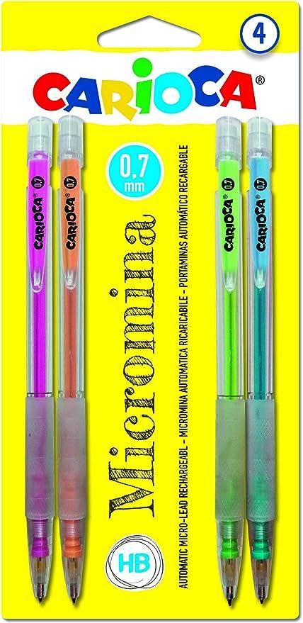 Carioca Micromina - Pack de 4 portaminas automáticos recargables, multicolor: Amazon.es: Oficina y papelería