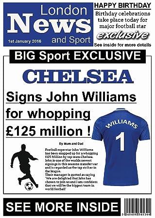Personalised chelsea newspaper football birthday card amazon personalised chelsea newspaper football birthday card bookmarktalkfo Choice Image