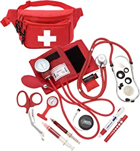 ASA Techmed Deluxe Blood Pressure Kit with Sprague Rappaport Type Stethoscope || Health Monitor Kit Fanny Pack w CPR Mask + Accessories