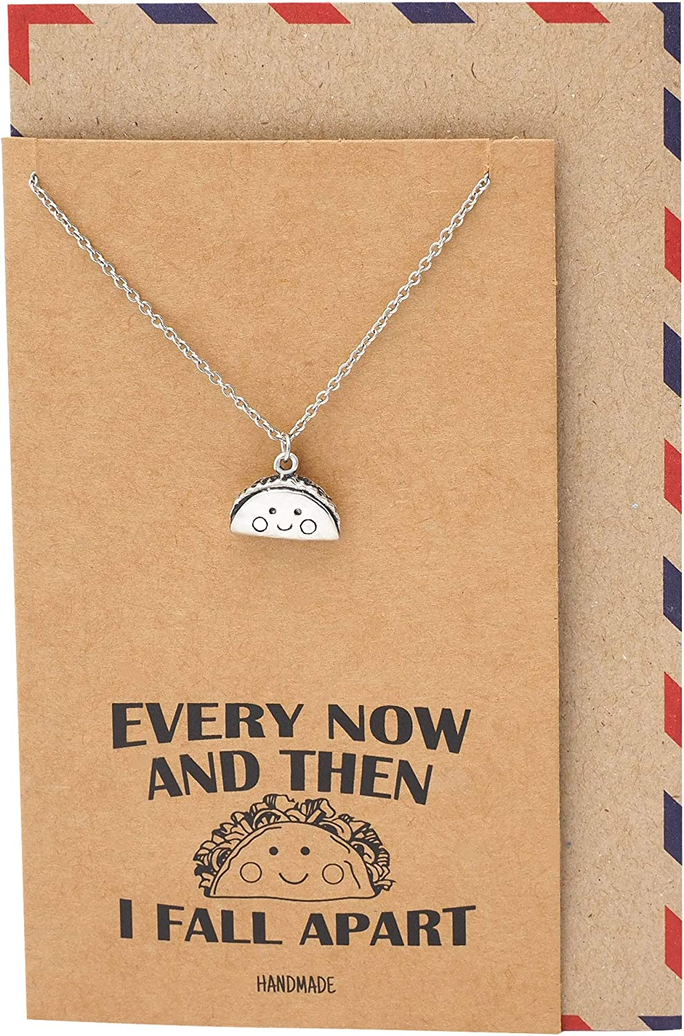 Quan Jewelry Taco Necklace, Gifts for Foodie Taco Lovers Mexican Food, Spanish Taco, Fall Apart Funny Quote Pendant Charm - 100% Handmade