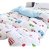J-pinno Boys Girls Cartoon Cars Muslin Duvet Cover, 100% Cotton, Invisible Zipper, for Kids Crib Bedding Decoration Gift (Cri