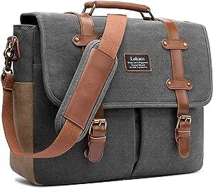 Mens Messenger Bag, 15.6 Inch Laptop Shoulder Bag Canvas Business Briefcase Large Vintage Satchel College Bookbag Retro Brown Leather Handbag Crossbody Bag for Men, Gray