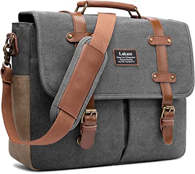 Mens briefcase Mens Briefcase Vintage Canvas Laptop Messenger Bag Flap Over Satchel Bag For Travel Business Work School College Work Business Bag Shoulder Bag Computer Bag Fit Business Travel