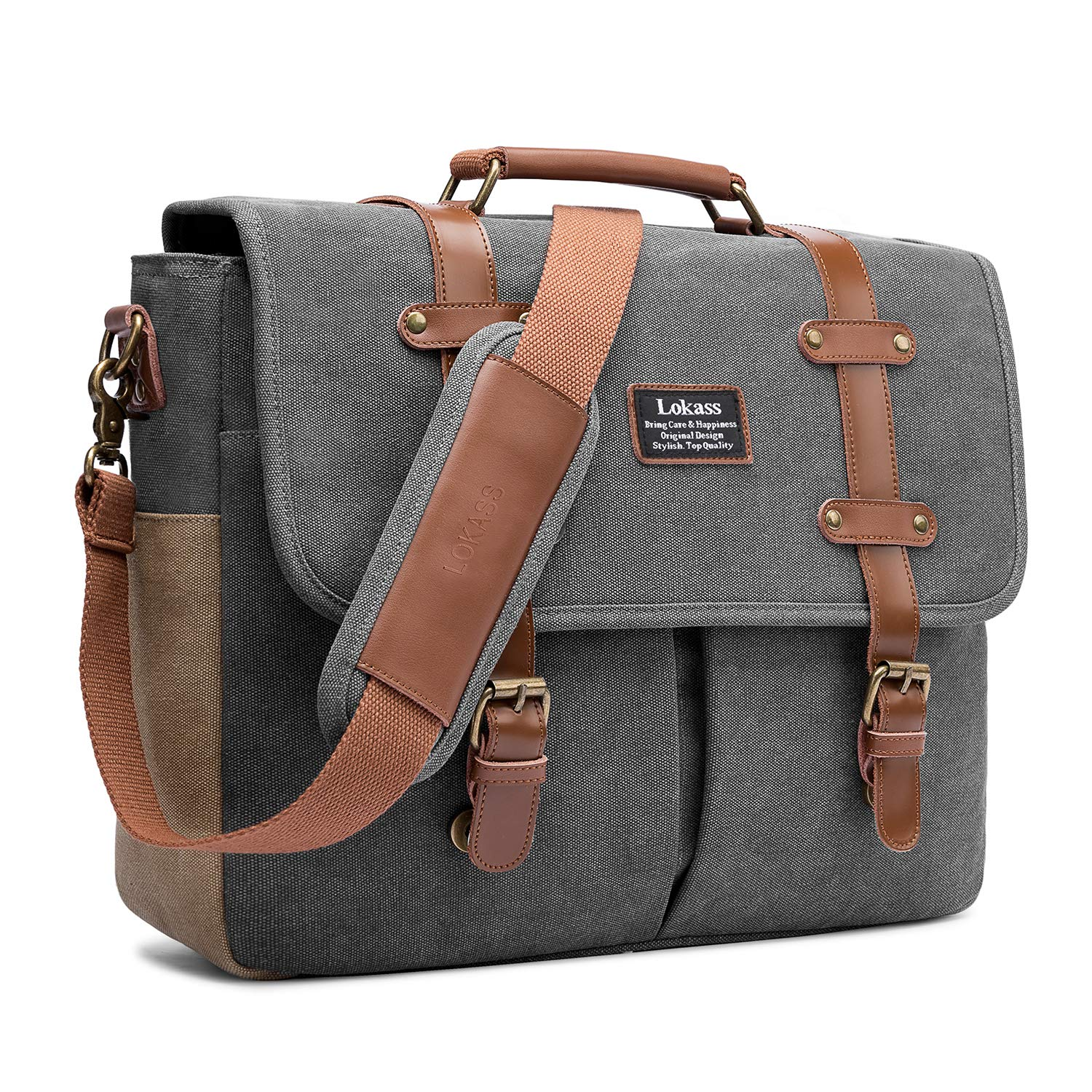 12685a2d303 Mens Messenger Bag, 15.6 Inch Laptop Shoulder Bag Canvas Business Briefcase  Large Vintage Satchel College Bookbag Retro Brown Leather Handbag Crossbody  Bag ...