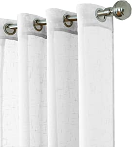 """Elrene Home Fashions Bali Sheer Indoor/Outdoor Grommet Window Curtain Panel with Tieback, 52"""" x 95"""" (1, White"""