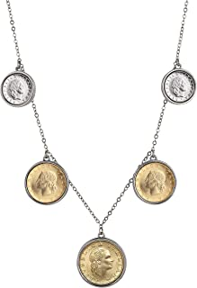 product image for Italian Five Coin Lire Pendant Necklace | Genuine Italian Lira Two Tone Charm Necklace with 22 Inch Cable Chain | Certificate of Authenticity
