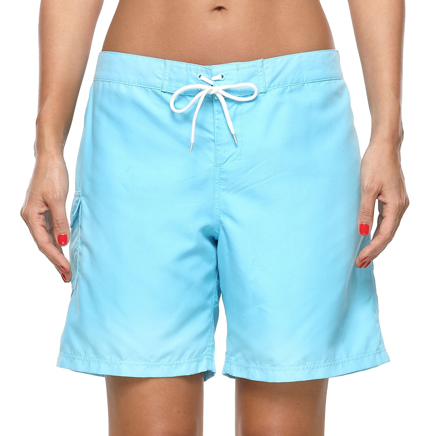 Charmo Women's Beach Board Shorts Swim Trunks Solid Boardshorts with Drawstring and Pocket