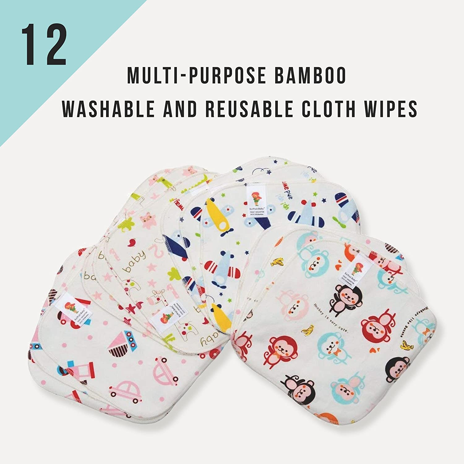 PROMOTION! Multi-purpose Bamboo Washable and Reusable Cloth Wipes (12/pack)-Nature KaWaii Baby