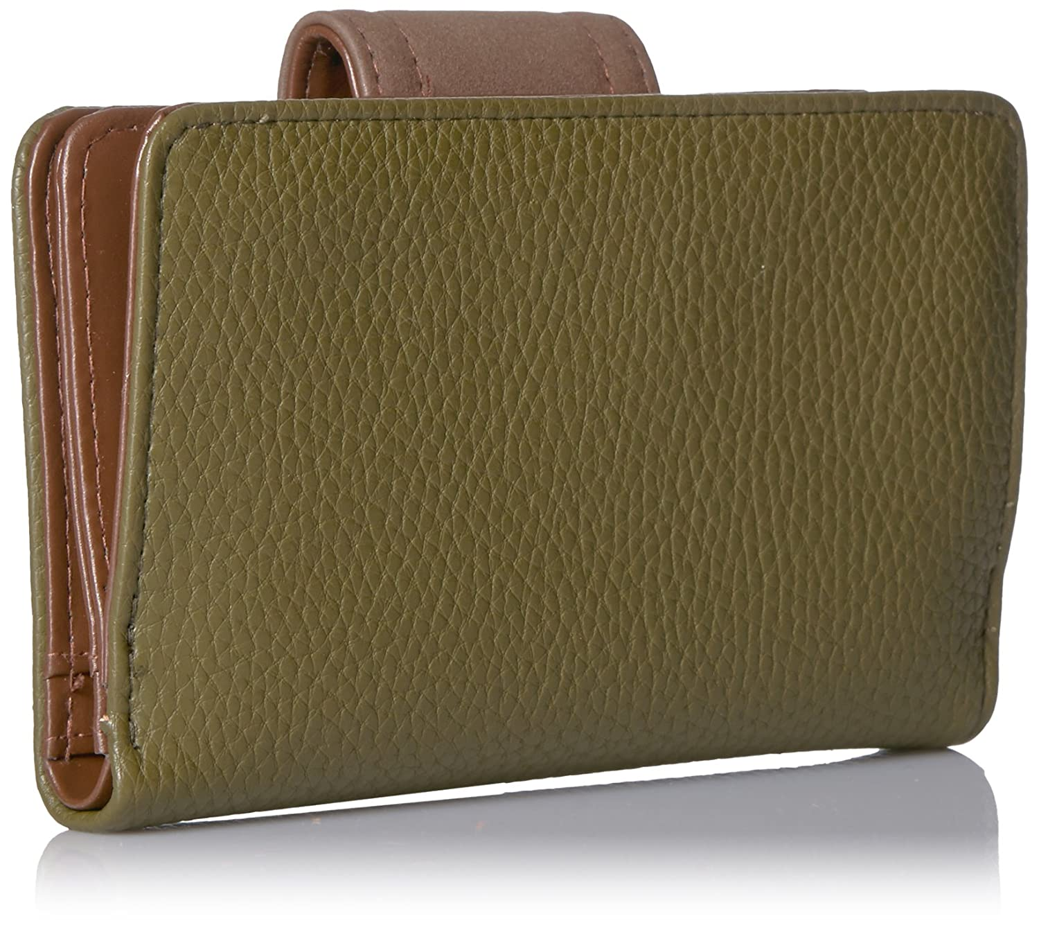 Buxton Touch of Suede Medium Tab Wallet Four Leaf Clover//Coconut
