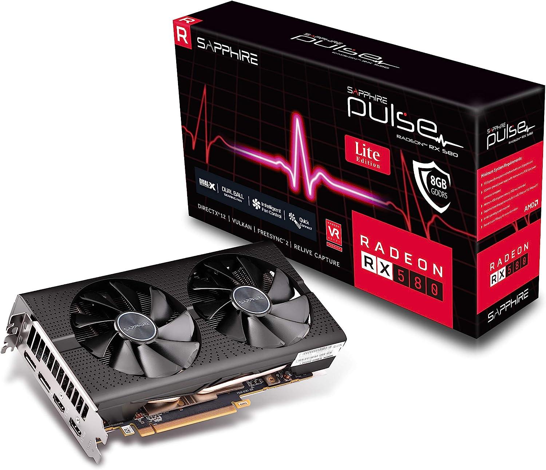 Dual DP OC w// Backplate UEFI PCI-E Graphics Card Sapphire Technology 11265-67-20G Radeon Pulse RX 580 8GB GDDR5 Dual HDMI