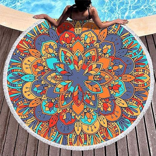 RQPPY - Toalla de Playa Redonda con borlas y Floral ...