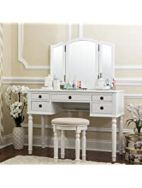 fineboard dressing set with stool beauty station makeup table three mirror vanity set 5