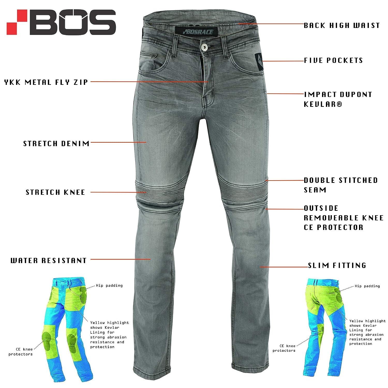 Aramid Mit Protektoren Herren BOSmoto Motorradhose Schwarz W30 Jeans Kevlar/®