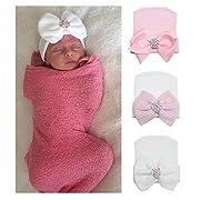Gellwhu Pink White Blue Newborn Girl Nursery Beanie Hospital Hat with Large Bow (3 Colors Pack K)