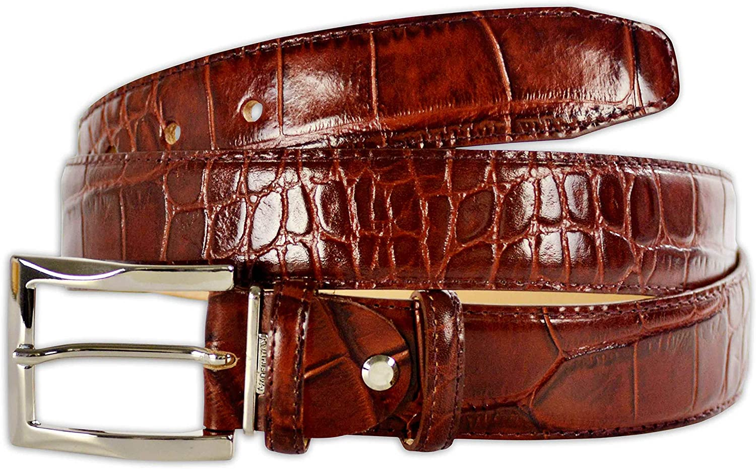 Pasquale Cutarelli Mens Crocodile Pattern Italian Leather Belt