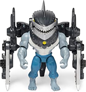 BATMAN, 4-Inch King Shark Mega Gear Deluxe Action Figure with Transforming Armor, Multicolor (6056718)