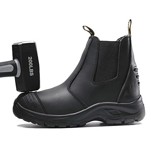 d3960203586 WAMSOFT Steel Toe Work Boots for Men Size 8,Water-Resistant,Anti-Static,  Anti-Puncture, Slip-Resistant(Black)