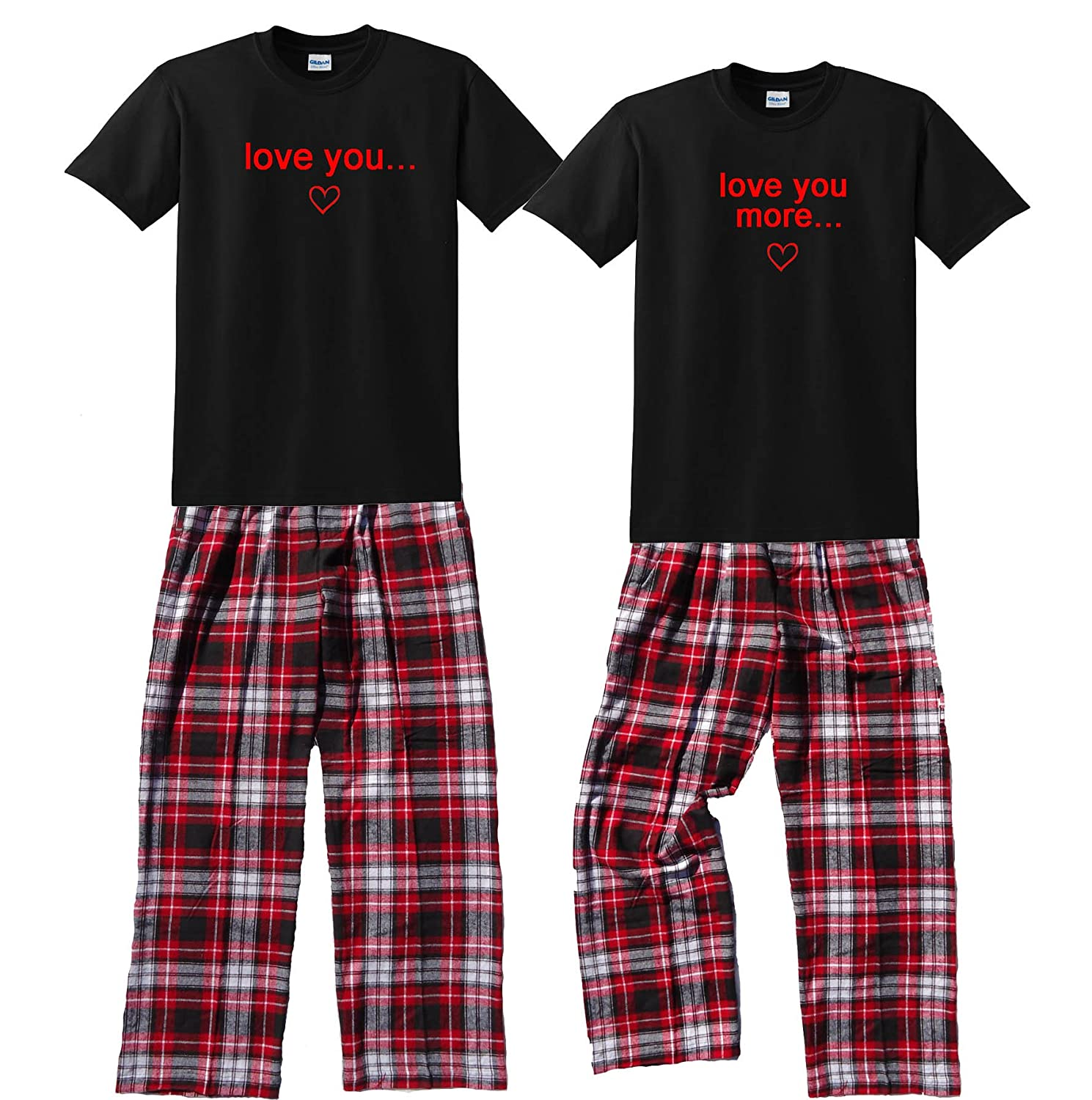 Footsteps Clothing Love You & Love You More Couples Pajamas; Each Shirt-Pant Set