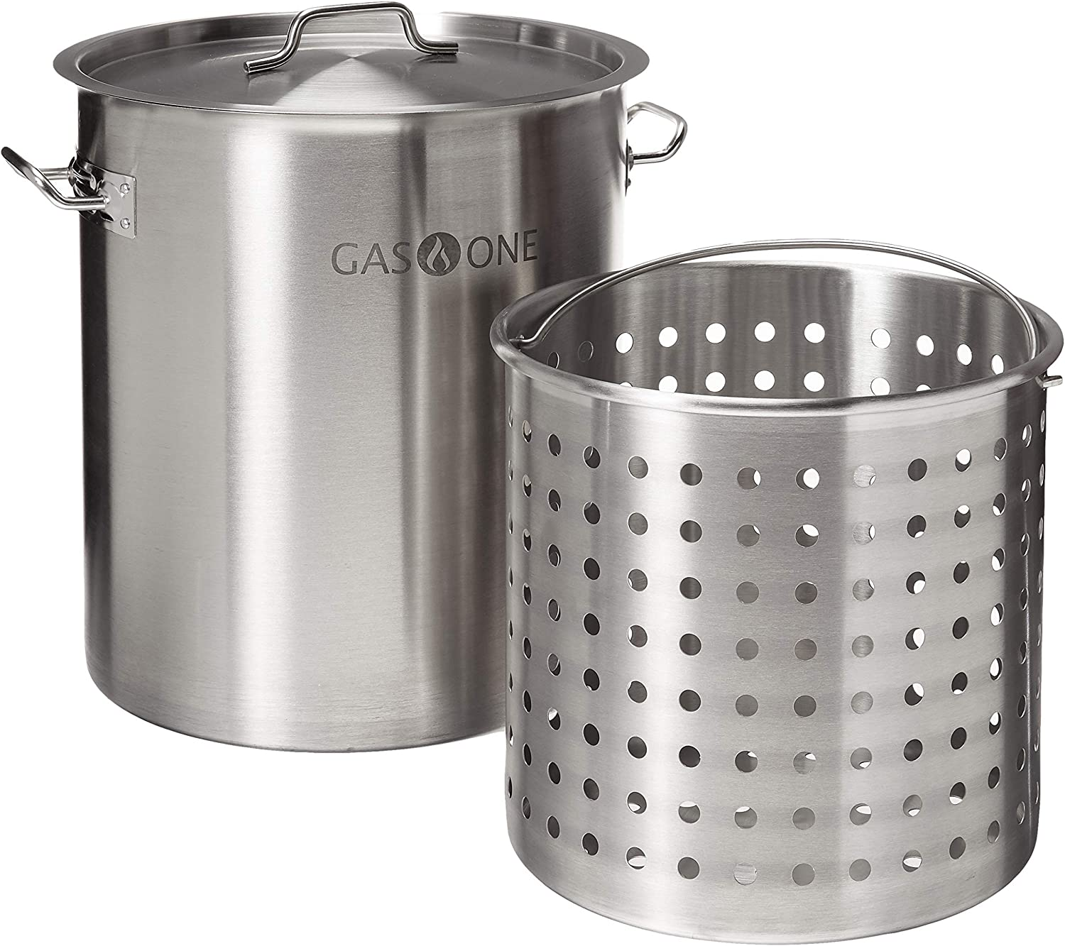 Gas One TP-32 32 QT Stainless Steel Tri Ply Bottom with All Purpose Pot Deep Fryer Steam and Boiling Basket, Quart (Renewed)