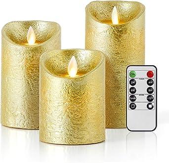 Velas de LED sin Llama, Pack de 3 Dorado Velas Electricas de Cera ...